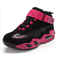 Unisex Athletic Shoes Fall Winter PU Outdoor Flat Heel Magic Tape Red White Fuchsia Basketball