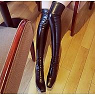 女性-アウトドア-レザー-ウェッジヒールブーツ-ブラック