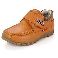 Jungen-Flache Schuhe-Lässig-Leder-Flacher Absatz-Komfort-Schwarz / Gelb