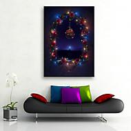 E-HOME® Stretched LED Canvas Print Art The Window Christmas Series LED Flashing Optical Fiber Print One Pcs