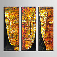 E-HOME® Stretched Canvas Art Buddha Face Decoration Painting  Set of 3