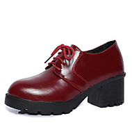 Women's Sneakers Spring / Fall / Winter Heels Leatherette Outdoor / Casual Chunky Heel Lace-up Black / Burgundy Others
