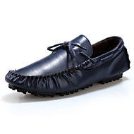 Herre-Lær-Flat hæl一脚蹬鞋、懒人鞋-Fritid-Svart Blå Brun