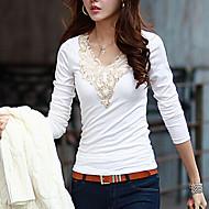 T-shirt Da donna Casual Semplice / Moda città Per tutte le stagioni,Tinta unita Rotonda Cotone Bianco / Nero Manica lunga Medio spessore