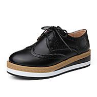 Damskie Oksfordki Skóra Jesień Casual Szurowane Platformy Black Brown 2.5 - 4.5 cm
