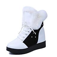 Feminino-Botas-Botas de Neve / Botas da Moda-Rasteiro-Preto / Branco-Couro-Ar-Livre / Casual