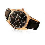 367 YAZOLE Fashion Men's Business Dress Watch Leather Strap Blue Ray Glass Hollow  Analog Quartz Wrist Watches