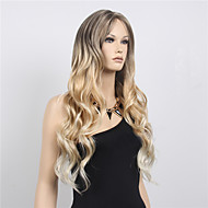 Free Part Long Wave Synthetic Wig Women Hair/Wig Cosplay Midsplit Wigs Two Tone Black Blonde Wig