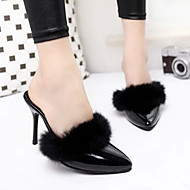 Women's Clogs & Mules Spring Fall PU Fur Casual Stiletto Heel Black Silver Other