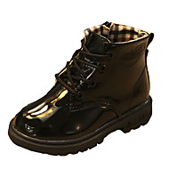 Girl's Boots Fall / Winter Fashion Boots Patent Leather Outdoor / Casual Flat Heel Lace-up Black / Yellow