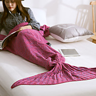 Travel Blanket Mermaid BlanketTravel Rest Acrylic Knitting Woo Wine / Blue / Purple / Pink