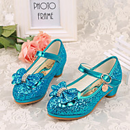 Heels Spring Fall Basic Pump Light Up Shoes PU Dress Low Heel Crystal Bowknot Blue Pink Silver Other