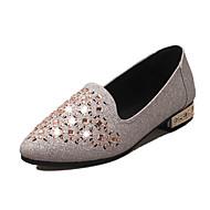 נשים-נעליים ללא שרוכים-נצנצים מיקרופייבר-רצועת T-כסוף זהב-יומיומי-עקב שטוח