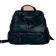 Casual Outdoor Shopping Backpack Women leatherette Black