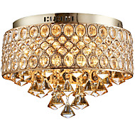 4 Lights Gold Diamond Shapes Crystal Chandelier