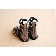 Girl's Boots Spring / Summer / Fall Riding Boots PU Outdoor / Dress Flat Heel Hollow-out Black / Silver Walking
