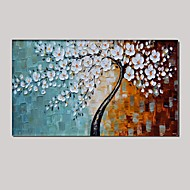 Palette Knife Art Oil Painting Hand Painted Wall Decor Picture White Cherry Blossom Stretched Frame (Ready to Hang)