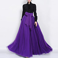 Women's Bow Swing Solid Layered Skirts High Rise Maxi Micro-elastic Summer