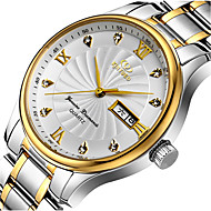 KINYUED Men's Silver Steel Band Water Ressistant Noctilucent Calendar Party Dress Watch Gift (Include Package)