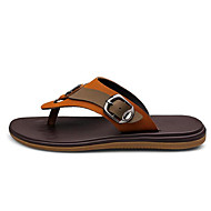 Men's Slippers & Flip-Flops Summer Leatherette Outdoor Flat Heel Others Brown Khaki Other