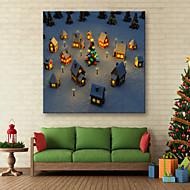 E-HOME® Stretched LED Canvas Print Art Our Small Village Christmas Series LED Flashing Optical Fiber Print One Pcs