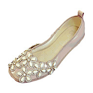Women's Flats Fall Flats Patent Leather Casual Flat Heel Beading Black / Pink / Red / Beige Others