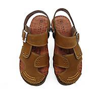 Men's Sandals Comfort Cowhide Summer Outdoor Walking Comfort Flat Heel Brown Khaki Flat