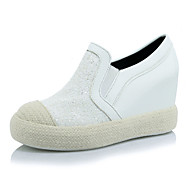 נשים-נעליים ללא שרוכים-PU-פלטפורמות / מעוגל-שחור / לבן / כסוף-שטח / שמלה / קז'ואל-עקב וודג'