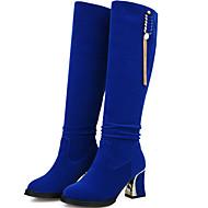נשים-מגפיים-דמוי עור-מגפי אופנה-שחור / כחול / אדום-משרד ועבודה / קז'ואל-עקב עבה