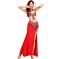 Belly Dance Outfits Women's Performance Crystal Cotton / Paillettes / Tassel(s) 3 Pieces(Bra&Skirt&Waist Belt)