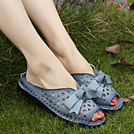 Women's Clogs & Mules Spring / Fall Comfort Leather Outdoor Flat Heel Bowknot Black / Blue / Red / Beige Others