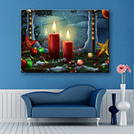 E-HOME® Stretched LED Canvas Print Art Candles And Decorations Christmas Series LED Flashing Optical Fiber Print One Pcs