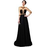 Formal Evening Dress Sheath / Column Jewel Floor-length Satin Chiffon with Crystal Detailing / Sequins