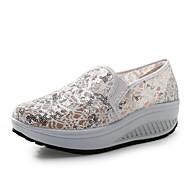 Dame-Lerret-Flat hæl Platå-Platå-一脚蹬鞋、懒人鞋-Fritid-Blå Rød