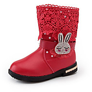 Girl's Boots Fall Winter Comfort PU Casual Flat Heel Black Pink Red Walking