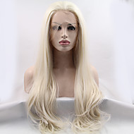 High Quality Platinum Blonde Synthetic Hair Lace Front Wigs Free Part Long Natural Straight Blonde Wig Heat Resistant Glueless Fiber Hair for Women