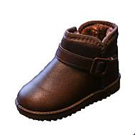 Girl's Boots Fall Winter Comfort PU Casual Flat Heel Zipper Black Pink Red Fuchsia Coffee Walking