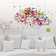 Personality Colored Women Flowers Hair Wall Stickers Creative Fashion Living Room Girls Room Wall Decals