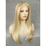 imstyle 24''heat mieszanka odporna blond długie proste naturalne peruki syntetyczne koronki z przodu może być zakręcony