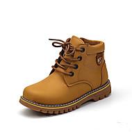Girl's Heels Fall Winter Fashion Boots PU Casual Flat Heel Lace-up Black Camel Walking