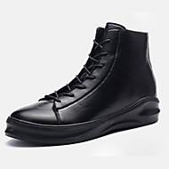 Kényelmes-Lapos-Női cipő-Csizmák-Alkalmi-PU-Fekete Fehér