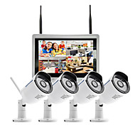 szsinocam® 4ch 960P 12.5lcd nvr 1.3MP ir outdoor p2p draadloze ip cctv camerabewaking kit