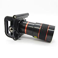 Universal 8X teleobjektiv med Universal metalclips til mobiltelefon - Rød + Sort