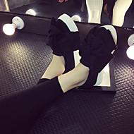 נשים-נעליים ללא שרוכים-פוליאסטר-נוחות-שחור / אפור-קז'ואל-פלטפורמה