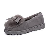 Women's Loafers & Slip-Ons Fall Winter Comfort Microfibre Fur Casual Flat Heel Black Gray Walking