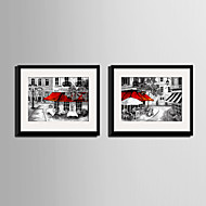 E-HOME® Framed Canvas Art, A City Street Corner Canvas Print Set of 2