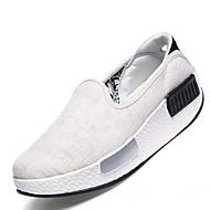 נשים-נעליים ללא שרוכים-קנבס-נוחות-שחור / לבן / כסוף / אפור / בז'-קז'ואל-עקב שטוח