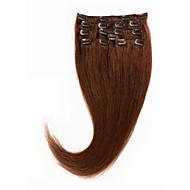 clipe 8a em extensões de cabelo humano 14-26 Remy cabelo # 6 castanha grampo de cabelo dyeable marrom no cabelo 100% cabelo humano natural