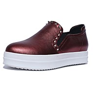Women's Loafers & Slip-Ons Spring / Fall / Winter Platform Cowhide Casual Platform Rivet Silver / Burgundy Others