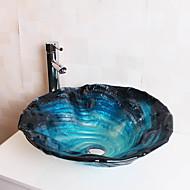 Zeitgenössisch T12*Φ470*H160MM Rundförmig Sink Material ist HartglasWaschbecken für Badezimmer / Armatur für Badezimmer / Einbauring für
